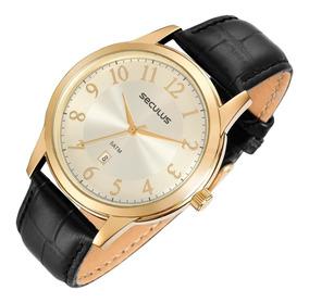 Relógio Seculus 2 Anos Garantia Pulseira Couro 23597gpsvdc1