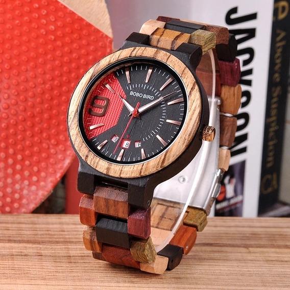 Relógio De Pulso Masculino Em Madeira De Bambu Bobo Bird.