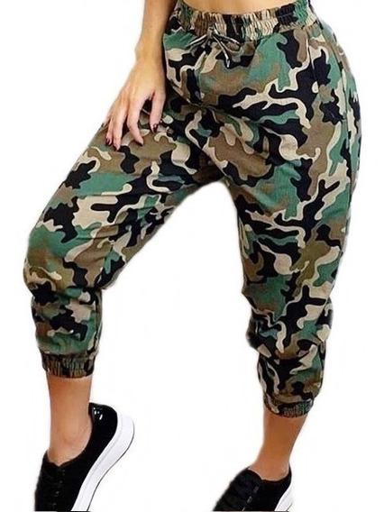 Calça Jogger Feminina Linho Camuflada Militar Tendencia Roupas Feminina