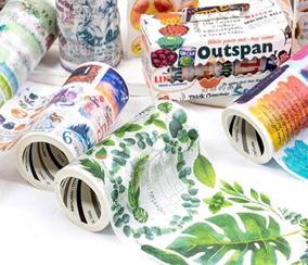 Washi Tape Fita Decorativa Folhagem Folhas Etiqueta Vintage