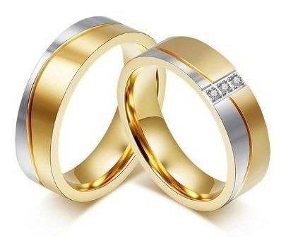Par Aliança Anel Elegante Cristais Zircônia Inox Banho Ouro