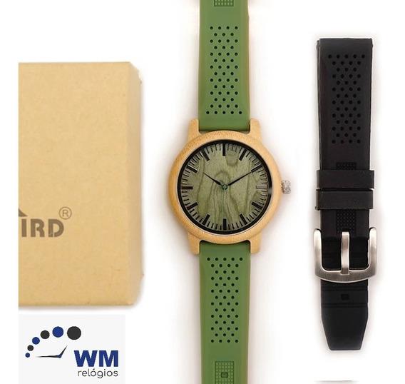 Relógio De Madeira Bobo Bird Modelo B06 + Pulseira Preta