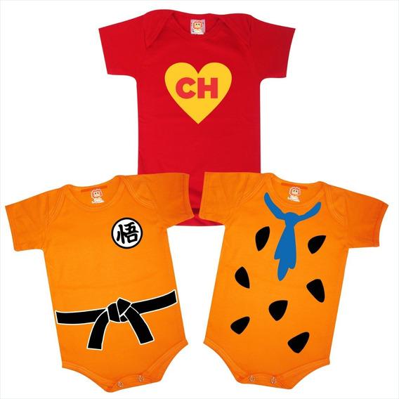 Kit Com 3 Bodys De Bebê Chapolin Goku Dragon Ball Fred Flintstone