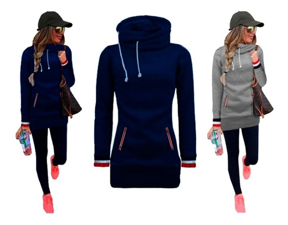Mujer Buzo Largo Campera Fitness Pilates Hoodies Abrigado
