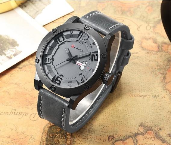 Relógio De Pulso Curren 8251 Cinza Chumbo - Pulseira De Couro