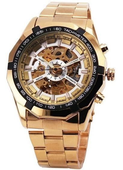 Relógio Masculino De Luxo Dourado Pulseira De Aço Elegante