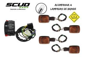 Jogo 4 Pisca Seta Ybr 125 / Xtz 125 Chave Luz Original Scud