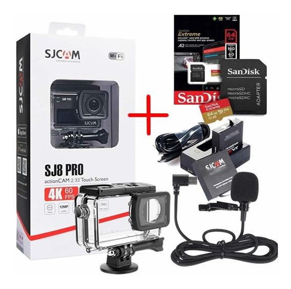 Sjcam Sj8 Pro Original 4k + Kit Bat. + Mic. + 64gb Extreme