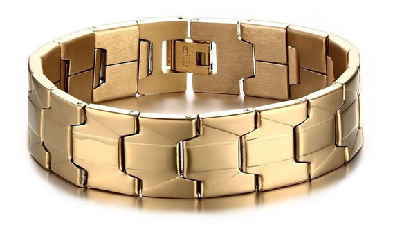 Bracelete Pulseira Masculina Grossa Larga Banhada Ouro C934