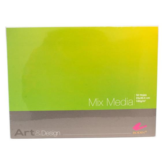 Block 50 Hojas Mix Media Mixta 160gr 25x30.5 Envio Gratis