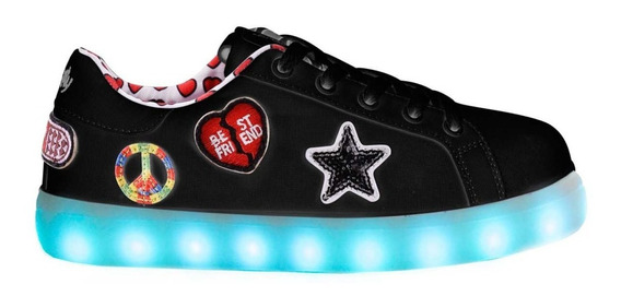 Zapatillas Footy Luces Led Carga Usb Fxl104/106 Mundo Manias