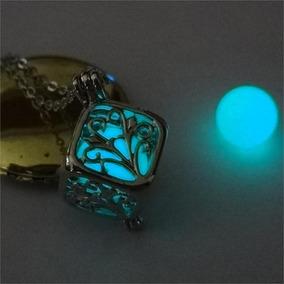 Colar Feminino Brilha No Escuro Gargantilha Pingente Azul Bb