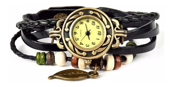 Relógio De Pulso Vintage Feminino Em Couro Pingente De Folha