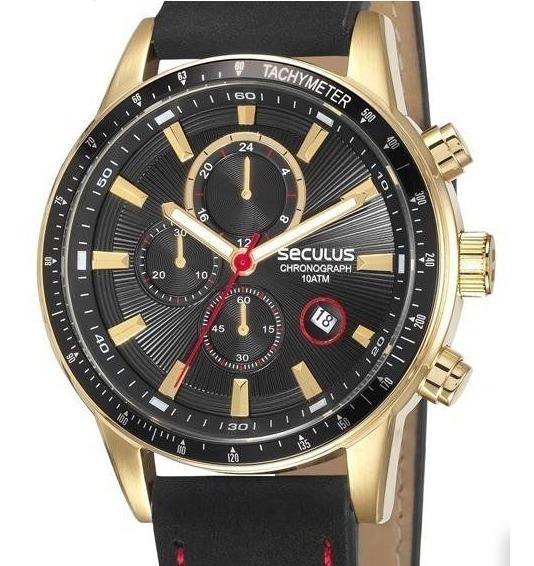 Relógio Pulso Seculus Masculino Dourado Cronogr 23649gpsvha1