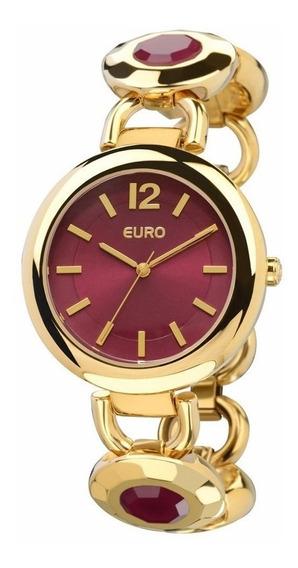 Relógio Euro Topazio Cereja