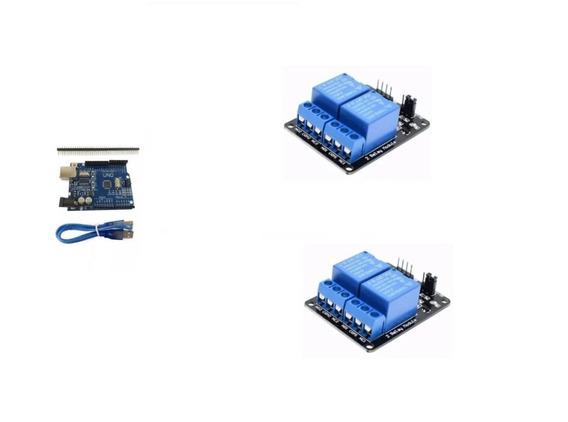 Kit Arduino Uno R3 + Cabo Usb + Pinos + 2 Relé De 2 Canais
