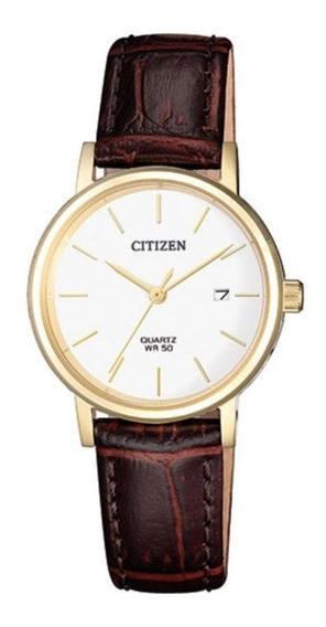 Relógio Social Citizen Tz28486b Couro Marrom