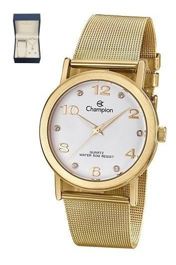 Relógio Champion Feminino Cn29034w + Colar E Brincos