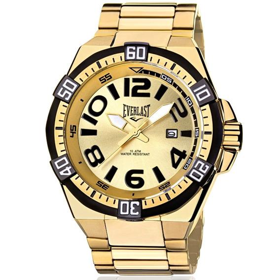 Relógio Everlast Masculino Dourado Analógico - E636