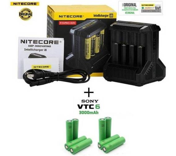 Carregador Niticore I8 Led + 8 Baterias Sony Vtc6 Originais