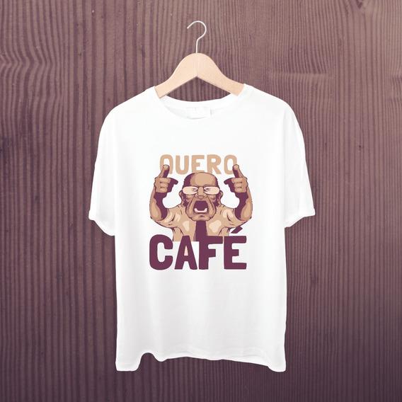 Camiseta Quero Café - Camisa Criativa Meme Vovô - Silver