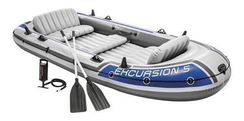 Barco Bote Inflável Excursion 5 - 600kg Remos E Bomba Intex
