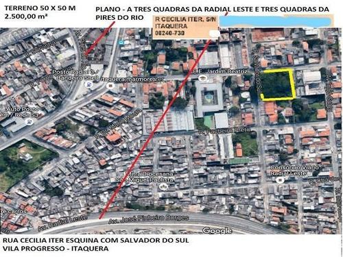 Terreno Plano Com 2500 M² - Itaquera - São Paulo/sp - Te0149