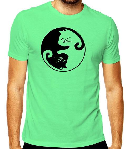 Camiseta Geek Casal Yin Yang Gatos Mod 001
