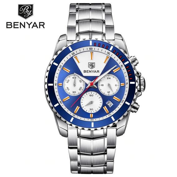 Relógios Masculinos Marca De Luxo Da Benyar Original Azul