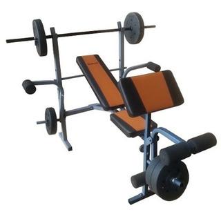 Multigimnasio Con Bco Scott+discos+barra 150cm World Fitness