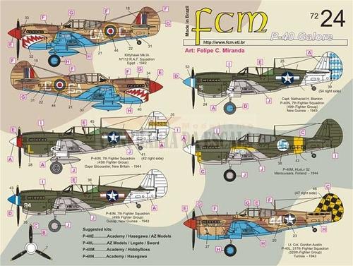 Imagem 1 de 2 de Decalque P-40 Galore ( Parte 3 ) 1/72 Fcm Decals Fcm72024