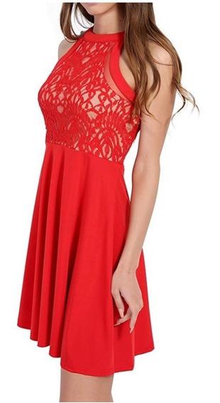 Vestido Rojo Con Encaje 5991