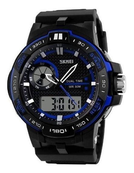 Relógio Masculino Skmei Anadigi 1070 - Preto E Azul Original