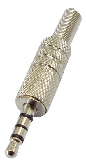 Conector Ficha Plug 3,5 Mm Estereo 4 Polos Metal