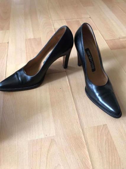 Zapatos De Cuero Italiano Sergio Rossi Talle 37.5