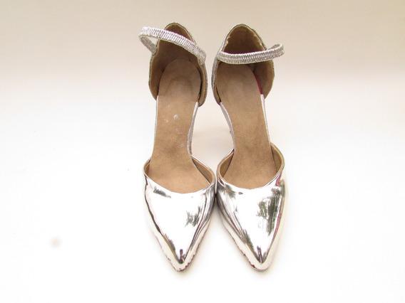 Zapato De Punta Espejada Taco Aguja Strap Pointy