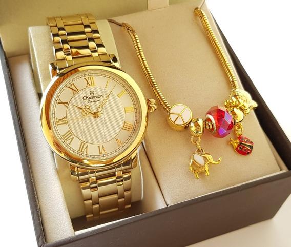 Relógio Champion Feminino Dourado Luxo + Pulseira Berloque