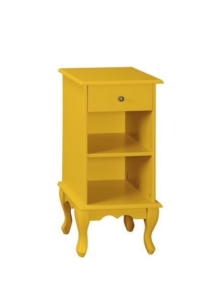 Criado Mudo Amarelo Biagio 1 Gaveta + Nicho Pés Luiz Xv