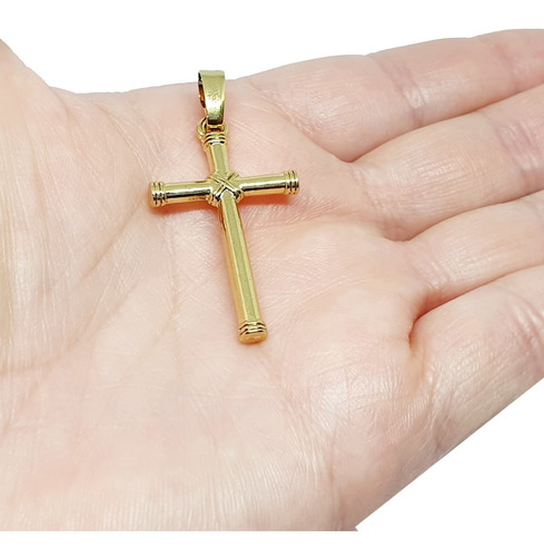 pingente Berloque Religioso Ouro 10kt Crucifixo Cruz Masculino Dc Ht:28.9mm X W:15.5mm