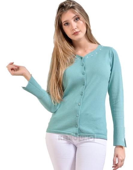 Cárdigan Sweater Saquito Fino Con Perlas Y Botones -kierouno