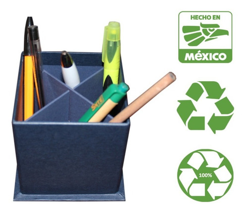 Porta Lapices Reciclado Azul (1 Pieza) Ecologico