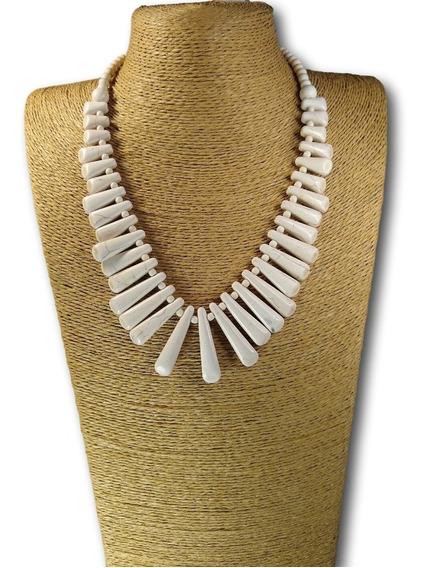 Maxi Colar De Pedra Branco Ref: 6253