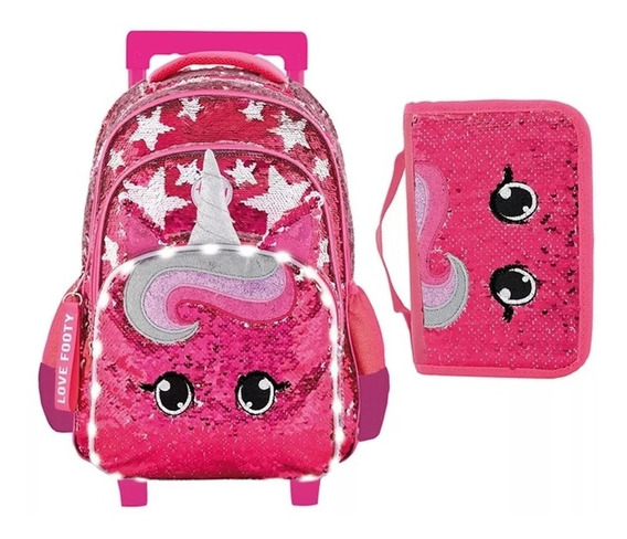 Combo Mochila Footy Carro Unicornio Star+cartuchera Despleg