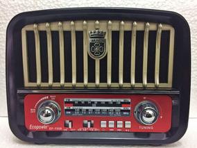 Radio Retrô Vintage Recarregável Am Fm Bluetooth Usb Barato