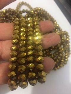 800 Pedras Cristal Swarovski 8mm Dourado Metallica Importada
