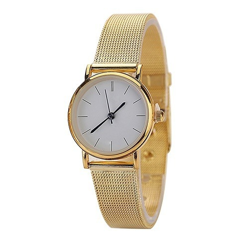 Relógio De Pulso Geneve Dourado Pulseira De Malha Ref. 199/2