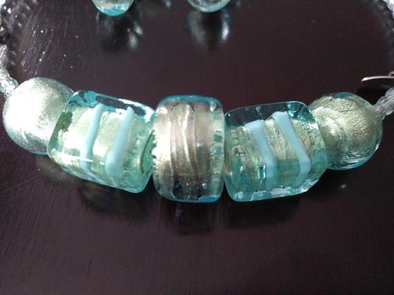 Colar Cristal Murano E Brincos Murano