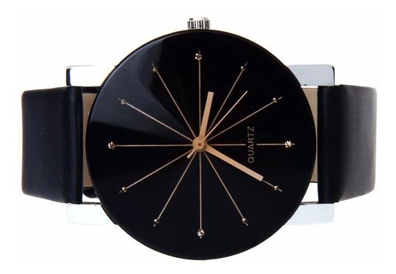 Relógio Quartzo De Luxo Masculino Preto Pulseira Em Couro Pu