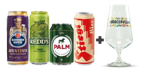4 Pack De Cervezas Europeas Nº 2 + Copa Eurocervezas