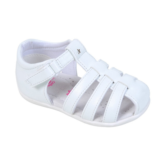 Sandalia Blanco Velcro Dedos Proteg Girl Colloky